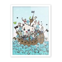 Wholesale Funny Pictures Print - Free shipping novelty funny cool cartoon pirate ship sea spray pattern home decorative hanging poster photo picture