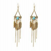 Wholesale Feather Boho Earrings - Fashion Silver Gold Color Alloy Tassel Dangle Earrings Retro BOHO Turquoise Feather Drop Earrings for Women Gigft Jewelry Wholesale