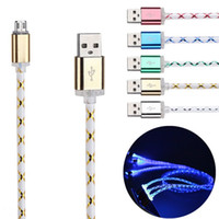 Wholesale Lead Lines - New Aluminum Braided Visible LED Lighting Micro USB Charger Cable 1M 3FT Light Charging Cord Line For Samsung S7 S6 edge HTC LG Smartphone