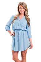 Wholesale Mini Chiffon Shirt - New Casual Spring Women Sexy V neck Long Sleeve Party Mini Chiffon Shirt Dress Loose Sashes Pocket dress Plus Size S-XL
