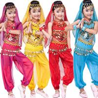 Wholesale Girls Belly Dance Pants - 4 pcs(top+Pants+belt+hand chain+) Children Belly Dance Costumes Kids Belly Dancing dress Girls Ballroom Performance dancewear