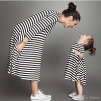 Wholesale mommy daughter clothing matching for sale - Summer New Mother Daughter Dress Matching Outfits Kids Clothing Stripe Sleeveless Casual Clothes Mommy and Me