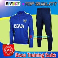 Wholesale Shirts Suits - 2017 Argentina Boca Juniors Training Suits 17 18 CARLITOS Tevez kits Tracksuit Jackets Camisetas De Futbol Chandal Survetement Jacket Shirts