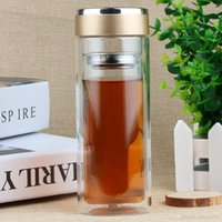 Glass sport top water bottles - Double Deck Glass Bottle Practical Filter Tea Cup Portable Sport Travel Water Mug High Grade Gift Top Quality fj J R