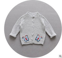 Wholesale Hand Knitted Newborn Baby - Newborn sweater babies knitting cardigan baby girls butterfly embroidery sweater outwear 2017 baby girl autumn cotton clothing T5119