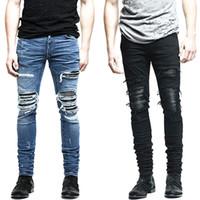 Wholesale Men Jean Capris - Wholesale- New Mens denim pants clothing zipper skinny biker jeans men slim fit justin bieber jean Vintage ripped blue denim men jeans man