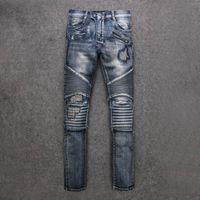 Wholesale Mens Slim Jeans Size 38 - 1pCS New Paris Designer Mens Blue Washed Destroyed Biker Jeans Destroyed Denim Pockets Famous brand new size 30-38