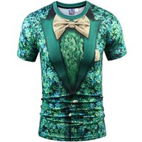 Wholesale Bow Tie T Shirt - Shamrock suit T shirt 3D plant bow tie short sleeve gown Street casual tees Street printing clothing Unisex cotton Tshirt