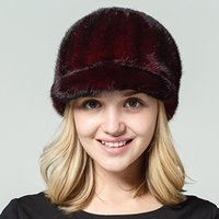 Wholesale High Quality Mink Hats - Ms.Leefur Real mink Hat Women natural ermine 2017 new high-quality Female Lady Winter Hat Cap peaked cap russian fur hats newsboy hats