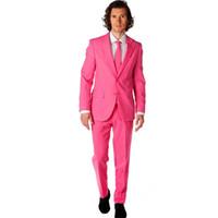 los hombres de esmoquin de color rosa caliente al por mayor-Groomsmen Notch Lapel Groom Tuxedos Hot Pink Men Trajes Wedding Best Man Suits 2 piezas (Chaqueta + Pantalones) Por encargo
