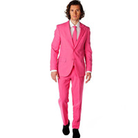 smoking rose chaud achat en gros de-Groomsmen Notch Revel Groom Smokings Hot Pink Men Suits Mariage Meilleur Costume Homme 2 pièces (Veste + Pantalon) sur mesure