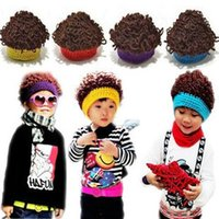 Wholesale Crocheted Boys Stocking Hat - [In Stock] 1-6 Years Old Autumn And Winter Child Wig Caps Kids Pocket Hats Boy Sytle Hats Free Shipping