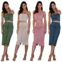 Wholesale Sexy Mini Skirt Tube - 2017 Fashion Tube Top Bandage Skirt Sexy Vent Sleeveless Dress Night Club Womens Black Clothes Clubwear Dresses KF5401