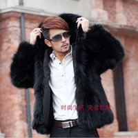 Wholesale Men Winter Jacket Fox - Wholesale- Fashion Winter Men's Plush Fox Fur Coat Mink Fur Jackets Hooded Parka Coats Winter Casual Plue Size XXXL 4XL Men Faux Fur Coat
