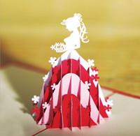 origami zum geburtstag großhandel-10 stücke Hohl Prinzessin Braut Handgemachte Kirigami Origami 3D Pop UP Grußkarten Für Hochzeit Geburtstagsfeier Geschenk