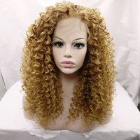 Wholesale Kinky Free Parting Lace Wig - 27# Hair ColorAfro Kinky Curly 100%fiber Heat Resistant Hair Curly Synthetic Lace Front Wig African Americans Free Part