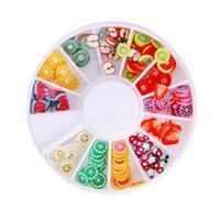 frutas de uñas fimo al por mayor-Al por mayor- DIY Nail Art Wheel Decorations Fruit Slices 3D Polymer Clay Tiny Fimo Wheel Nail Art Rhinestones Acrylic Decoration Manicure