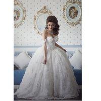 vestidos de noiva árabes venda por atacado-2017 New Arrival vestido De Noiva Arabian Design Querida Appliqued Frisada Floral Manga Curta Puffy Vestidos de Casamento