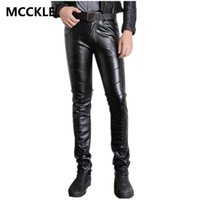 Wholesale super black material - Wholesale-Super Skinny Mens Faux Leather Pants PU Material Black Slim Fit Motorcycle Leather Trousers For Male P015