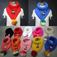 Wholesale Winter Muffler Kids - Kids Scarf Bear Knitted Pom Pom Plush Ball Lovely Winter Soft Warm Baby Girls Scarf Kids Neck Muffler Collar Neckerchief 9 colors C1762