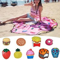 Wholesale beach towels resale online - Summer Fruits Beach Towel Styles Pizza Hamburger Donut Skull Ice Cream Strawberry Polyester Round Beach Shower Towel OOA2266