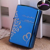 Wholesale Electronics Metal Case - Wholesale-High Quality Windproof Metal Case Pulsed ARC Electronic USB Rechargeable Lighter Customized Pattern