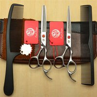 Wholesale Thinning Shears Sale - Hot Sale Suit 5.5'' 6'' 6.5'' Z1006 Red Gem JP 440C Comb+ Cutting Scissors + Thinning Shears Professional Hair Hairdressing Scissors