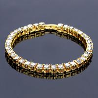 Wholesale crystal single row bracelet - New Fashion Men Tennis Bracelet Crystal Design Punk Hip Hop Gold Silver Color Single Row Mens Chain Bracelet Jewelry For Men