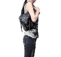 Wholesale Rock Punk Style Bags - Hot steam punk women shoulder bag Messenger bag leg waist pack motorcycle punk women's metal skull rivets rock style multifuctional