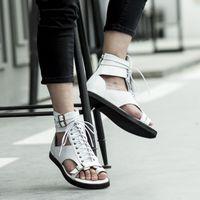 Wholesale canvas shoes punk resale online - White Black Flip flops Ankle Gladiators Flats Genuine leather Buckle Lace up Rome Style Punk Summer Sandals Outdoor Casual Shoes
