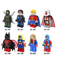 Wholesale America Gift - 8pcs set PG8056 Action Minifigures Super Hero Deadpool Bat Captain America Atom Azrael Building Blocks Children Christmas Gift DIY Toys