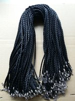 cuerda de cuero 3mm al por mayor-20 '' 22 '' 24' 3 mm Negro PU cuero trenzado de cuerda Cuerda Collar trenza con cierre de langosta para la joyería DIY Neckalce colgante de la joyería del arte