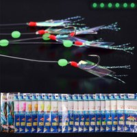 Wholesale Game Fishing Skirts - 22set lot Sabiki Lure Rigs for Fishing String Hook Silicone Soft Lure Souple Skirt Luminous Bead Artificial Bait Fish Tackle Supplies