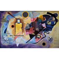 kırmızı soyut sanat resimleri toptan satış-Modern soyut sanat Wassily Kandinsky yağlıboyalar Tuval Sarı Kırmızı ve Mavi el-boyalı duvar dekor