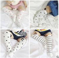 Wholesale Korean Baby Love - Fashion Korean Baby Socks 2017 New Spring Stripe Footprints Love Heart Dot Cotton Boys Girls Knee Socks Toddler stocking C043