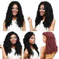 Wholesale 24 Inch Wavy Hair Synthetic - Cheap 18 Inch Curly Faux Locs Crochet Hair Wavy Faux Lock Braiding Hair 24 Strands pack Curly Fauxlocs Crochet Braids Hair Dreadlock Braids