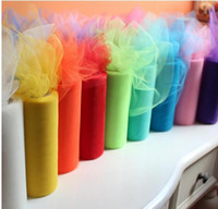 Wholesale Sheer Table Runners - 6 inch x 100 yard Wedding Organza Table Runners Decoration Yarn Roll Tulle Sheer Gauze Element Banquet Decoration Casamento Favors
