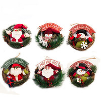 Wholesale door gift for christmas - Christmas Wreaths Door Hanging Decorate Snowman Rattan Ring For Festival Party Gift Home Decor Backdrop Prop Pendants 18xx C R