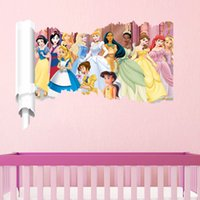 Wholesale Princess Design Kids Cartoon Gift - 3D Cartoon Princess Wall Sticker Removable for Girl Kids Nusery Rooms Decorative Wall Decals Home Decoration Movie Wallpaper Wall Art Window