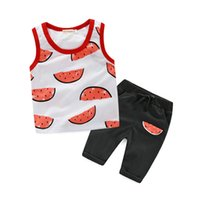 Wholesale Cool Suit Vests - Watermelon Print Top & Pant Set Cotton Suits for Baby Girls and Boys Sleeveless Vest Clothing Children Sets Korean Style Summer Cool Outfits