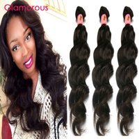 Wholesale Double Wefted Hair Extensions - Glamorous Peruvian Human Hair Natural Wave 3 Bundles Remy Human Hair Weave Double Wefted Malaysian Indian Brazilian Virgin Hair Extensions