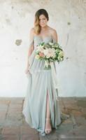 Wholesale Empire Honor - Cheap A-Line Sweetheart robe de soiree Empire Prom Side Split Chiffon Wedding Party Maid of Honor Dress Eegant Beach Bridesmaid Dresses 2017