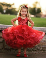 Wholesale Light Yellow Tea Length Halter - Lovely Red Tea Length Girls Pageant Dresses Halter Sequins Lace Puffy First Communion Dress Organza Cute Personalized Flower Girls Dress