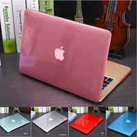 Wholesale Cover Macbook Logo - OEM Cut Logo Clear Crystal Case For Macbook Air Pro Retina 11 13 15 Laptop Bag Keyboard Cover