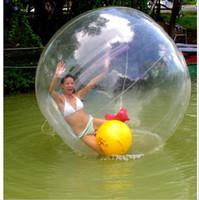 пвх водные шары оптовых-Шарик воды гуляя танцы спортивные бальные Dimater 2 м 0.8 мм ПВХ немецкой застежкой-молнией, пригодный для жизни детей, играющих на рек, озер, парков внешний воды