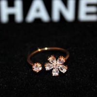 Wholesale Open Diamond Ring Flower - hot selling jewelry anti rust 18k gold fashion zircon diamond flower super glittering adjustable open designer lady woman rings