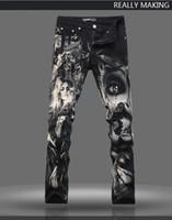 Wholesale unique design paint - Top Quality Original Design Men's Unique Printing Jeans Punk Rock 3D Beauty Painted Printed Slim Stage Jeans Motorcycle Jeans A66
