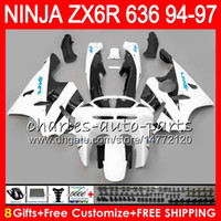 Wholesale 1994 Kawasaki Zx6r Fairing Kits - 8Gifts 23Colors For KAWASAKI NINJA ZX636 ZX6R 94 95 96 97 ZX-6R ZX-636 white black 33NO16 600CC ZX 636 ZX 6R 1994 1995 1996 1997 Fairing kit