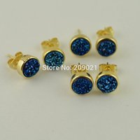 Lovely ~ 5pair Blue Color Round Shape Druzy Drusy Quartz Stone Stud Earrings Jewelry Finding