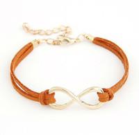 Wholesale 14k Gold Plated Chain Korea - 2016 New arrival Free shipping Fashion Korea personality Eight bangle jewelry infinity symbol charm bangle jewelry wholesale